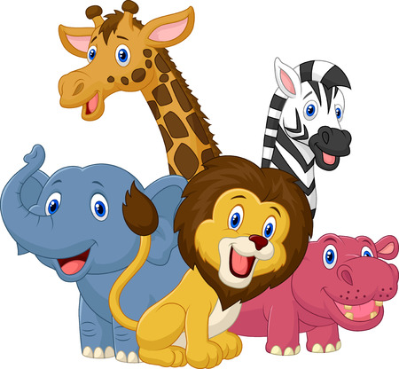 Gelukkig safari animal cartoon Stock Illustratie