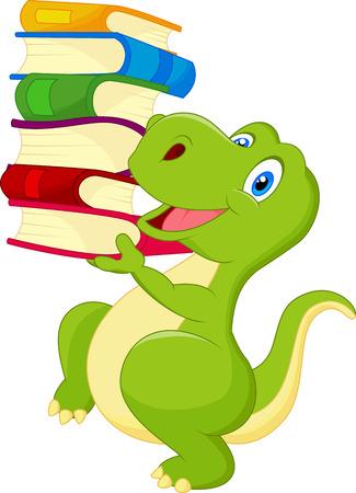 dinosaurio caricatura: Cute dibujos animados dinosaurio con el libro Vectores