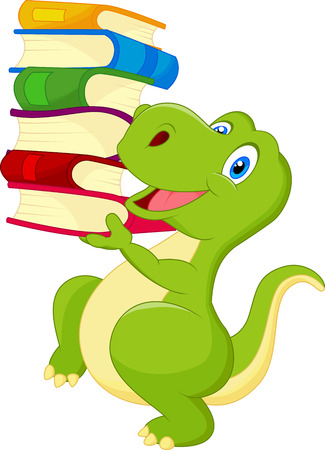 dinosaur cute: Cute dinosaur cartoon with book