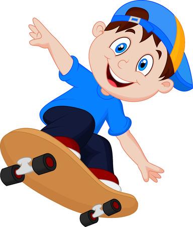 enfant qui sourit: Bande dessin�e heureuse de Skateboard Boy Illustration