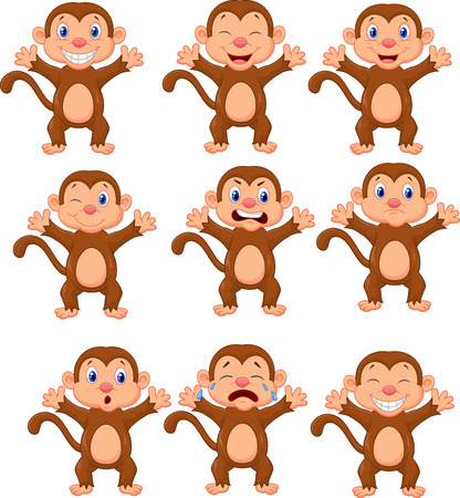 Cute monkeys cartoon in various expression  Vector