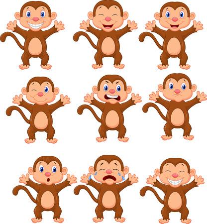 gesichtsausdruck: Nette Karikatur Affen in verschiedenen Expressions Illustration