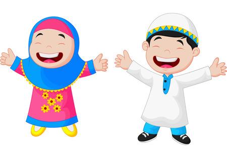 Bande dessinée heureuse d'enfant musulman