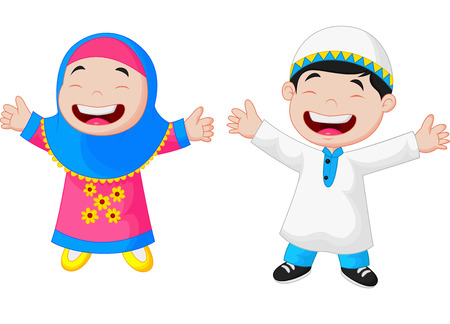 cartoon: Feliz de dibujos animados chico musulmán