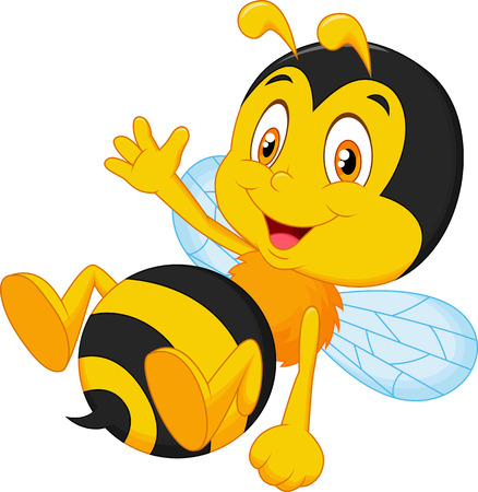Cute little bee cartoon waving hand Illustration