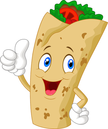 ground beef: Burrito cartoon character giving thumbs up Illustration