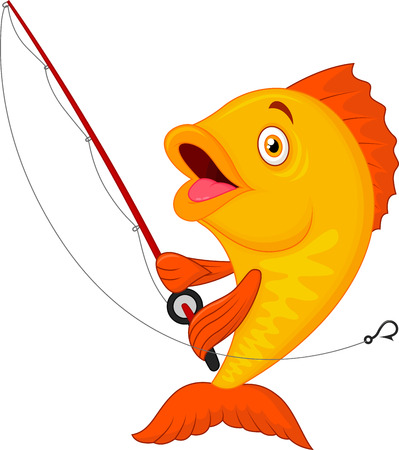かわいい漫画の魚の釣りロッドを保持