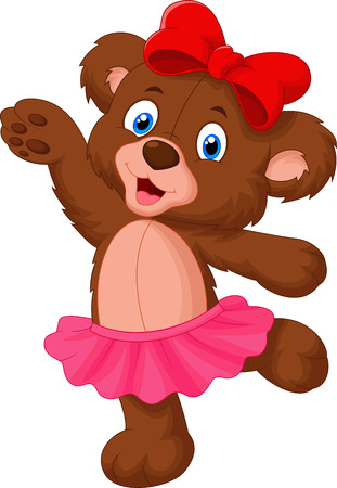 Baby bear cartoon dancing Vector