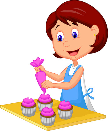 baking ingredients: Catoon woman with apron decorating cupcakes Illustration