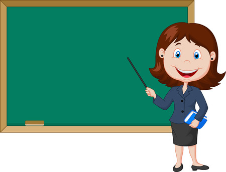 Cartoon female teacher standing next to a blackboard Çizim