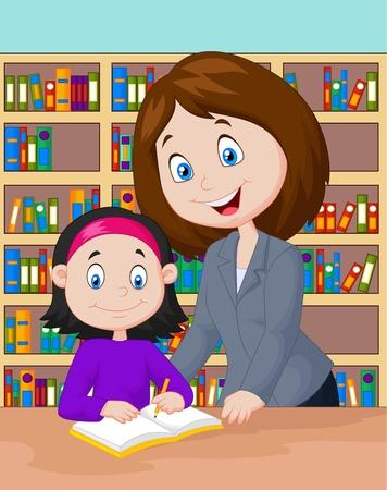 les geven: Leraar cartoon helpen pupil studeren Stock Illustratie