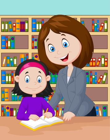 child learning: Teacher cartoon helping pupil studying Illustration