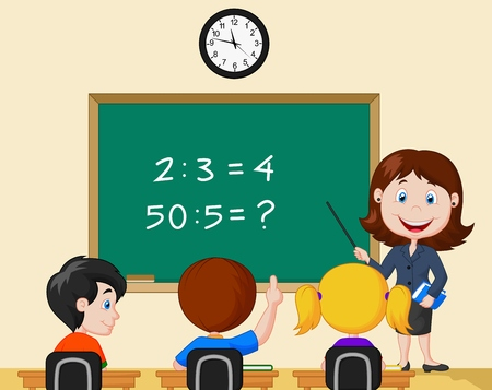 Cartoon Teacher pointing at blackboard and looking at schoolkids in classroom Vector