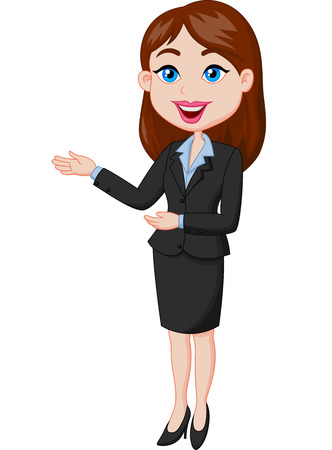 inviting: Smiling business woman cartoon presenting Illustration