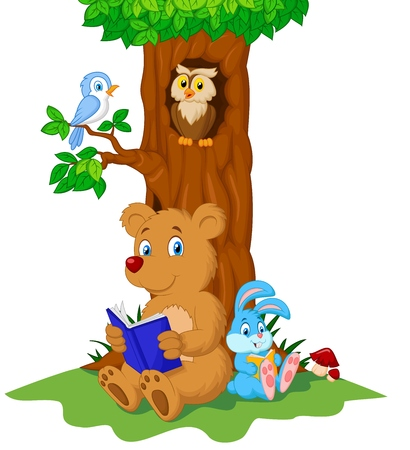 Cute animals cartoon reading book