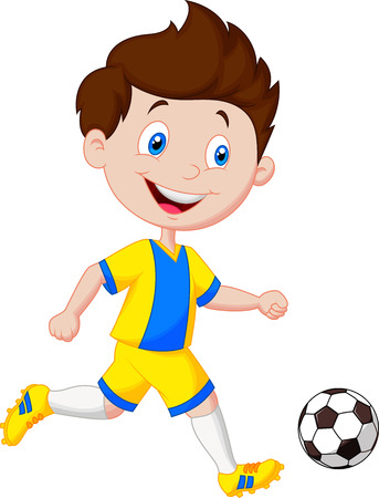 footballs: Cartoon boy playing football