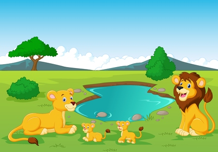 habitats: Cartoon lion family near watering hole
