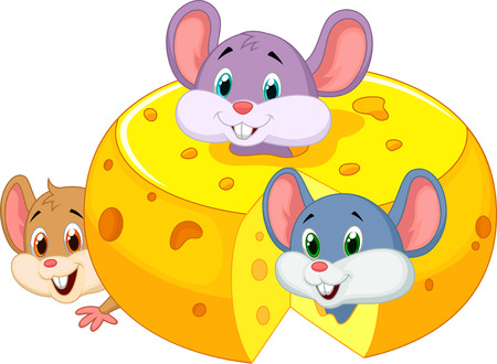 isolated animal: Cartoon mouse hiding inside cheddar cheese