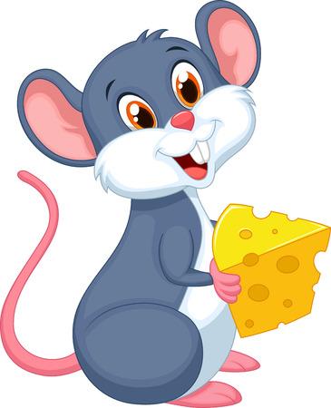 ratones: Cute dibujos animados del ratón con un pedazo de queso
