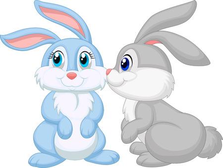 かわいいウサギの漫画のキス  イラスト・ベクター素材