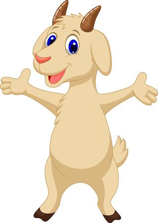 domestic goat: Cute goat cartoon posing