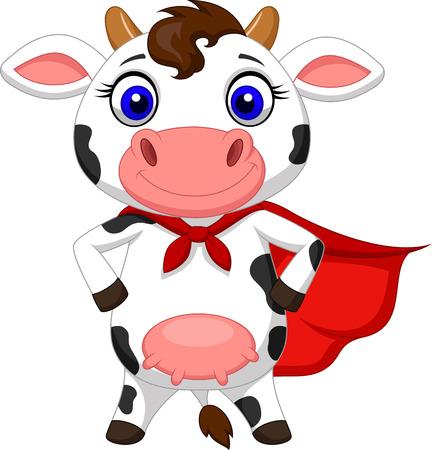 Súper posando historieta de la vaca Foto de archivo - 27657323