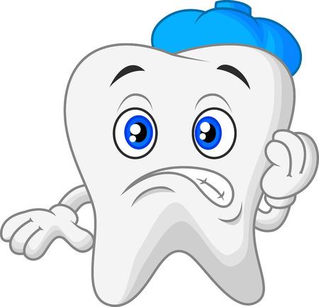 tooth cartoon: Sick tooth cartoon  Illustration