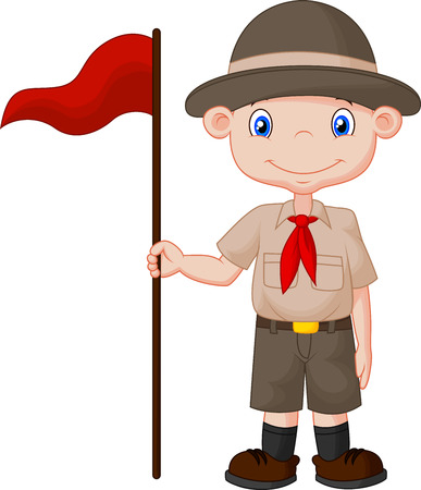 scout: Cartoon boy scout holding red flag