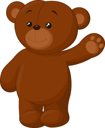 Cute cartoon bear waving Vector
