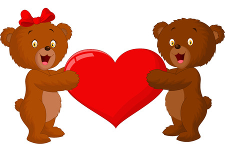 Couple baby bear cartoon holding red heart Vector