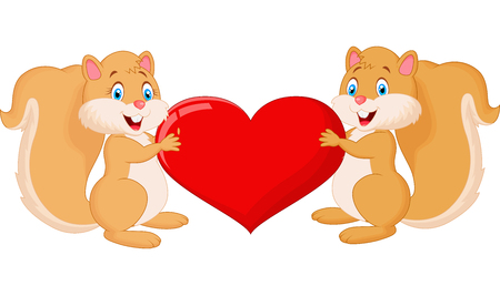 Squirrel couple cartoon holding red heart
