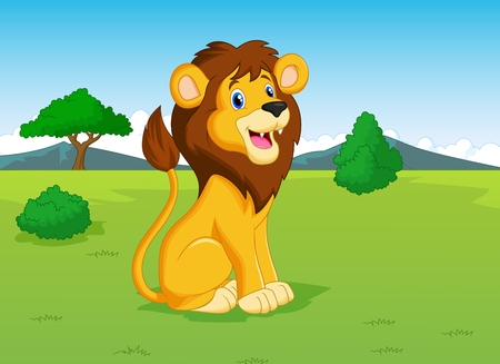 Lion cartoon in the savannah Illustration