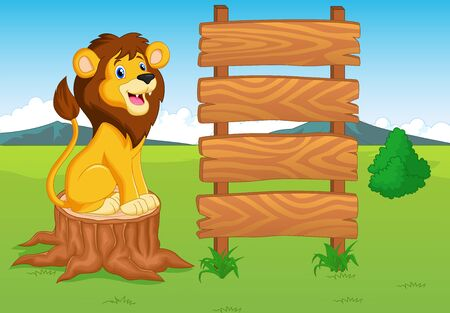 Cute lion cartoon with wooden sign Vector