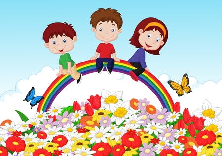 Happy kids cartoon sitting on rainbow over flower background Vector
