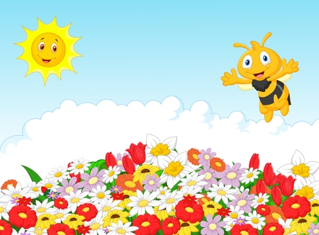 Cute bee cartoon with summer natural background Vector