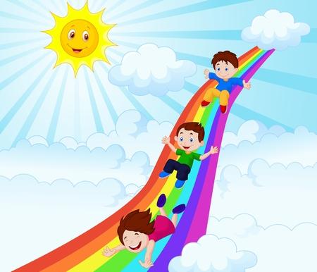 convivencia escolar: Los niños de dibujos animados que resbala abajo de un arco iris Vectores
