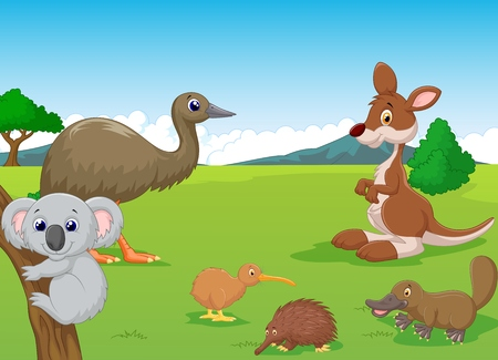 Cartoon Animals in Australian Outback Illustration