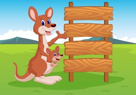 Cartoon Kangaroo e cartello in legno