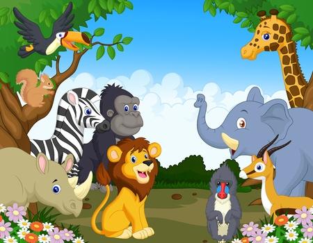 animales del bosque: Caricatura de animal salvaje Vectores