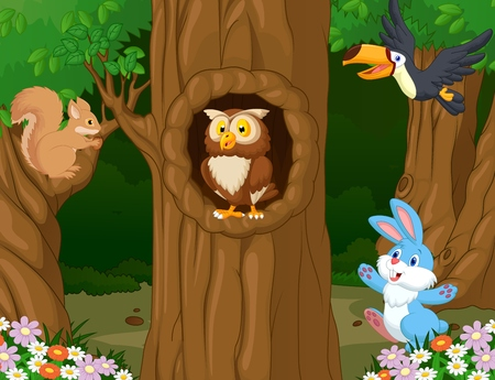 Animal cartoon in the forest  Illustration