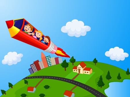 School Children cartoon Enjoying Pencil Rocket Ride
