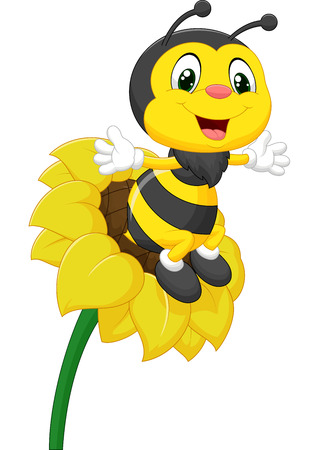 Bee cartoon character on the flower Vector