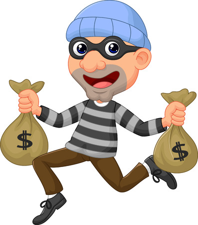 burglar man: Thief cartoon carrying bag of money with a dollar sign