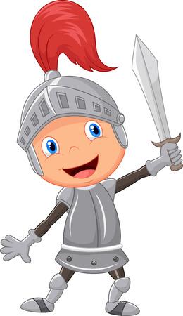 rycerze: Chłopiec kreskówka rycerz Ilustracja