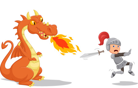 battre: Cartoon d'un chevalier allant d'un dragon f�roce Illustration