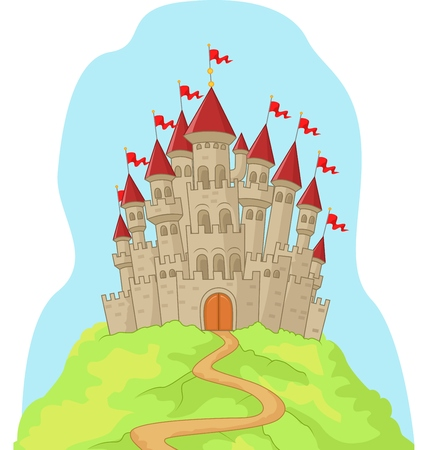 Beautiful cartoon castle on the hill Vector
