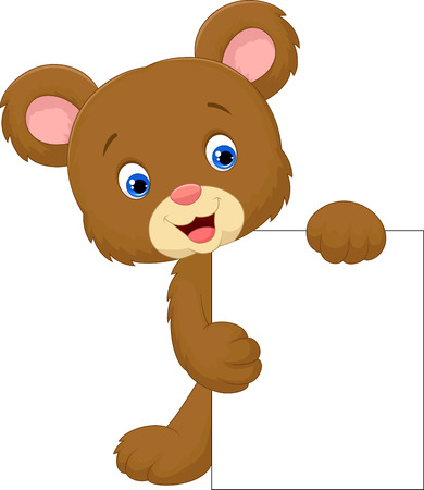 Funny bear cartoon holding blank sign Vector