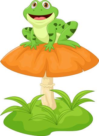 Funny frog cartoon sitting on mushroom Illustration