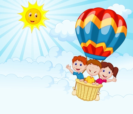 Happy kids riding a hot air balloon Stock Illustratie