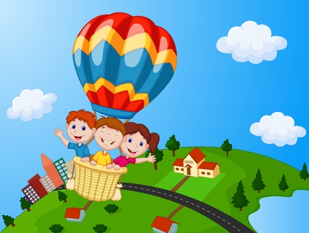 Happy kids riding a hot air balloon Çizim